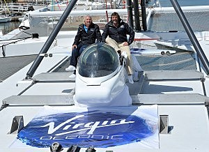 Richard Branson and Chris Welsh on April 5, 2011 in Balboa, California.