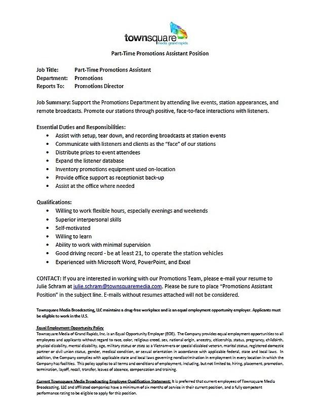 Promo Assistant Job Listing