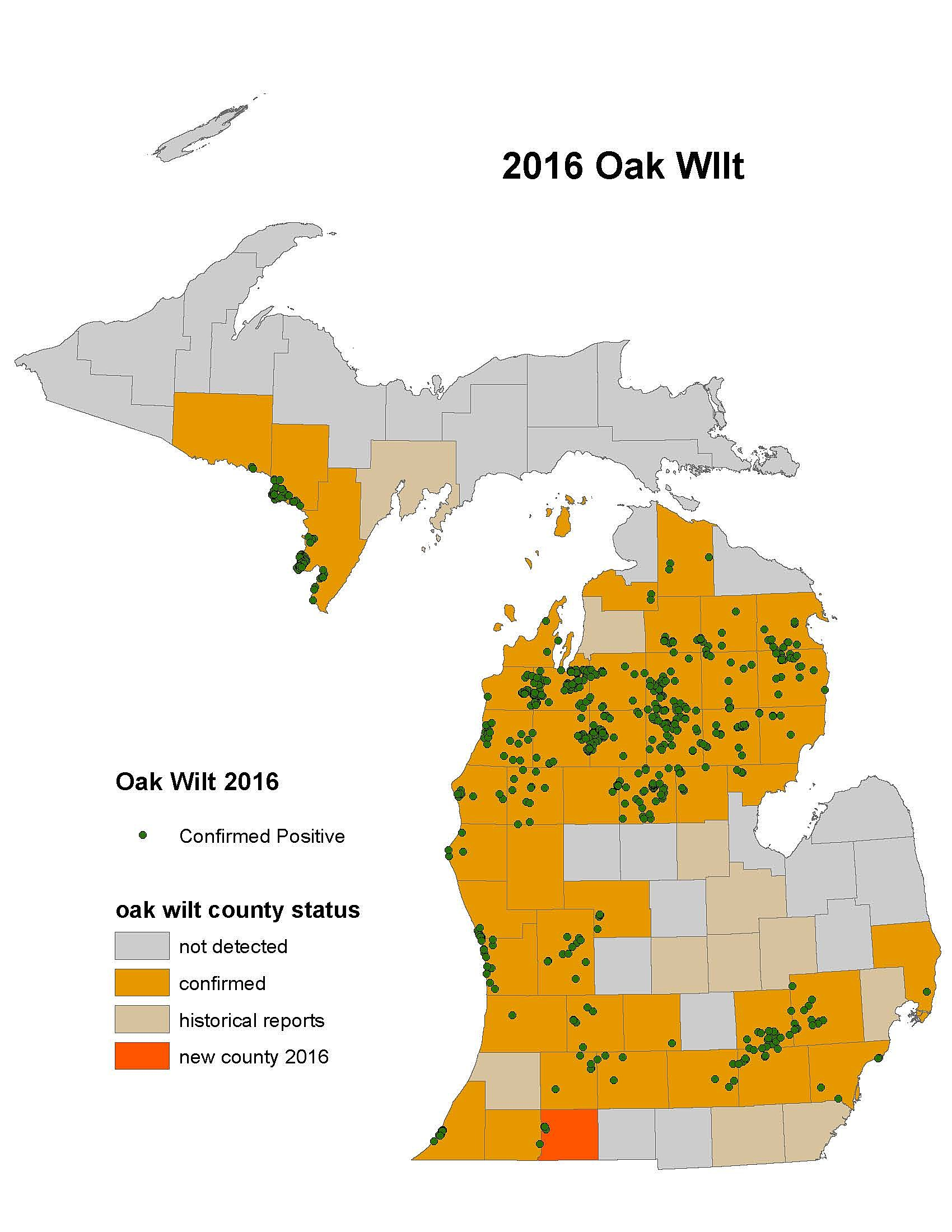 Map Shows Where Oak Wilt Disease Has Been Found In Michigan - Micigan map