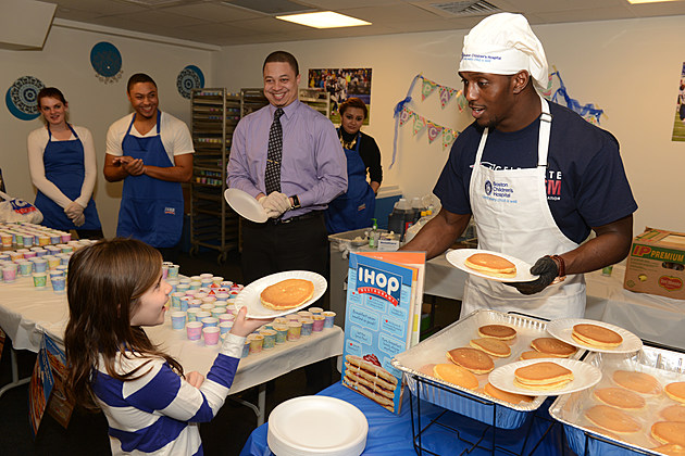 New England Patriots Kick Off IHOP Pancake Day At Boston Children's Hospital